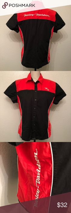 🏍 Harley Davidson Race Track Button Up 🏍 Size XL 🏍 Great condition 🏍 Super cute for riders or chic outfits 🏍 Harley-Davidson Tops Tees - Short Sleeve