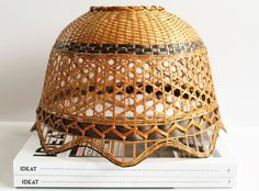 French Vintage Wicker Lampshade  70s  Mid by LAtelierDeNanaH #soldout