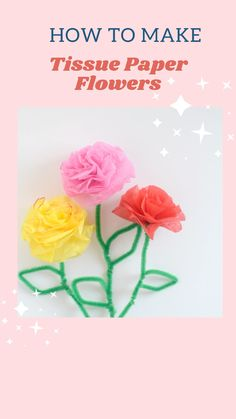 Easy Crafts For Kids Fun, Diy Arts And Crafts, Fun Crafts, Paper Crafts, Tissue Paper Flowers, Decor Ideas, Craft Ideas, Dollar Tree Crafts, Adult Crafts
