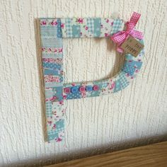 Blue patchwork fabric Decorative Letters - Fabric Wrapped Wooden Letters.