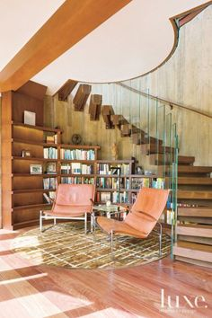 Under-stairs library nook