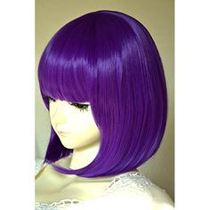 Wigsforyou®new Arrival Teen Titans Raven Cos Wig Purple Hair Girl's Straight Short 35cm Synthetic Hair Short Purple Raven Cosplay Wig
