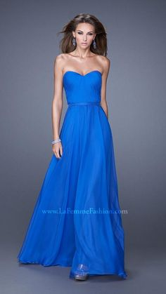 La Femme 20808 This strapless chiffon prom gown has a sweetheart neckline and pleated bodice. A chic chiffon belt compliments and flatters the waist. Back zipper closure. Senior Prom Dresses, Prom Dresses 2015, Bridesmaid Dress Styles, Blue Bridesmaids, Evening Dresses, Prom 2015, Long Dresses, Short Semi Formal Dresses, Formal Gowns