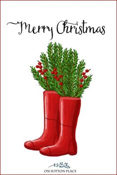 Use these free farmhouse Christmas printables for DIY wall art, cards, crafts, banners & more! Free digital download. Red rain boots. #christmasdecor #christmascard #christmas