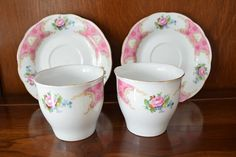 Check out this item in my Etsy shop https://www.etsy.com/listing/223704766/teacups-and-saucers-in-pink-and-white