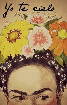 Yo te cielo, superbe illustration de Frida Kahlo. #peinture #painting #aquarelle #fridakahlo #waterapaint #couronne #fleurs #flower #crown                                                                                                                                                     Plus