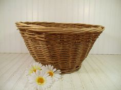 Vintage Very Large Round Natural Heavy Wicker Laundry Basket - Rustic Hand Woven Strong Gift Basket or Carry All - Primitive OverSized Decor $33.00 by DivineOrders