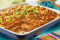 Try something new with this flavorful Mexican Lasagna recipe! Corn tortillas replace pasta in this cheesy and delicious Mexican Lasagna recipe featuring black olives, green peppers, salsa, corn, cottage cheese and more. Kraft Foods, Kraft Recipes, Beef Recipes, Cooking Recipes, What's Cooking, Recipies, Cooking Stuff, Pasta Recipes, Yummy Recipes