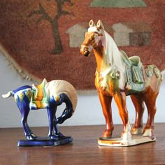 Pair of Tang Horse Figurines by SugarLMtnAntqs on Etsy