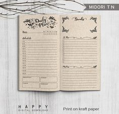 Printable Inserts Daily Planner Midori Daily Spreadsheet