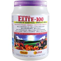 "Multivitamin - Women's Elite-100™ with Maximum Essential Omega-3 500 mg - ELITE-100 with Maximum Essential OMEGA-3 delivers more than 40 nutrients, including high potencies of all essential vitamins, minerals, phytonutrients, carotenoids and the added benefits of our unique Omega-3 Oils. The ""100"" in ELITE-100 refers to the 100 mg of six vital ingredients this formula includes: Coenzyme Q-10, Alpha Lipoic Acid, Resveratrol, EGCG, Pomegranate and Citrus Bioflavonoids."