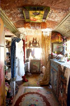 Inside the Magnolia Pearl camper of which they sell their wares. sigh... inspiring... camper, interior, tin ceilings, gypsy style, dream, wagon, bohemian, airstream trailers, magnolia pearl
