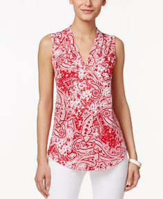 Charter Club Sleeveless Paisley-Print Top, Only at Macy's