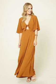Forever 21 Contemporary - A textured woven maxi dress featuring a deep V-neckline with a self-tie, a front cutout, a buttoned waist, skirt with a high front slit, and short bell sleeves.