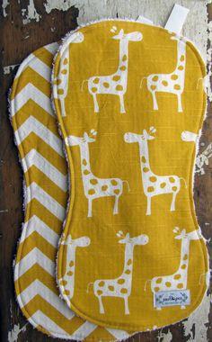 Baby Burp Cloths OR Baby Bibs Yellow door theposhpeaboutique