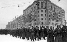 Soldiers marching to war along Tverskoy Boulevard, Moscow. December 1941.