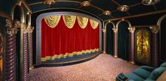 Cool Dramatic Home Theater Design With Beautiful Curtains on Every Wall : Cool Dramatic Home Theater Design With Beautiful Curtains On Every Wall With Green Sofa And Classic Interior Design