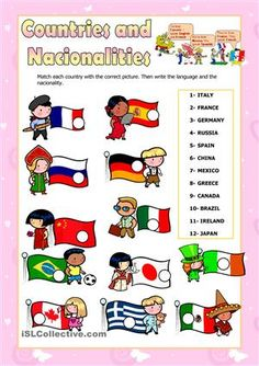 Pupils have to match each nationality to the correct picture. - ESL worksheets