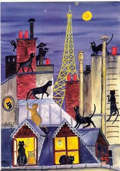 Undo the Dry Spell: Traditional Art 2 Cats on Paris Roofs