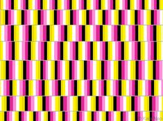 Three illusions in one: the cafe wall illusion, color motion illusion and a stereogram effect. By Kaia Nao