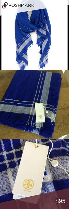 """NWT Tory Burch Signature Wool Scarf NWT Tory Burch Signature Wool Scarf.  Color is Blue Macaw.  Has a tiny embroidered logo detail on one corner of wool scarf.  32""""x82"""".  100% Wool.  All items come from a pet/smoke free environment.  No Trades or PayPal.  Bundle & Save Tory Burch Accessories Scarves & Wraps"""