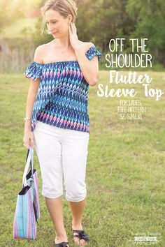 Off The Shoulder Top Sewing Pattern for Women. This free pdf pattern come in sises Small through Extra Large #freepattern #offtheshouldertop