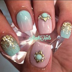 quenalbertini: Nail Art by StephsNails Fancy Nails, Love Nails, Spring Nails, Summer Nails, Exotic Nails, Manicure E Pedicure, Manicure Ideas, Mani Pedi, Girls Nails