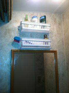 RV storage : cabinet organizing shelves, cheap drawer organizers, secured with wire shelf fasteners and wall anchors