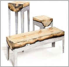 WOOD + CONCRETE BLENDED TABLES AND BENCHES. SO COOL.