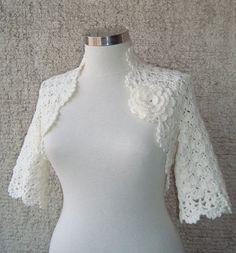 Marfil algodón nupcial ensueño Crochet encogiéndose de hombros