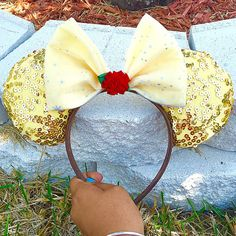 Disney beauty and the beast belle Minnie Mouse ears by EarsbyLiz