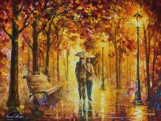 Caring For Love — Palette Knife Romantic Yellow Oil Painting On Canvas By Leonid Afremov.     #art #painting #love