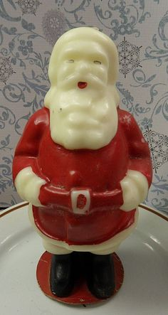 "Vintage Tavern Christmas Candle ~  Large, 7½"" Tall Santa Claus w/ the Tavern Label (Tavern is Pre-Gurley era. Gurley bought out Tavern in 1949.)"
