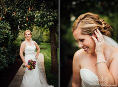 Beautiful bride under a pear tree.   Nicole and Charlie's fall inspired wedding at Laurel Creek Manor in Sumner, Washington photographed by local Seattle Wedding Photographer.