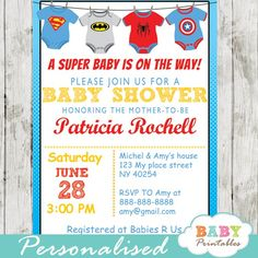 Printable superhero onesie baby shower invitation for boys. This personalized superbaby invitation features the cutest superhero bodysuits in red, blue and grey. Printable Baby Shower Invitations, Personalized Invitations, Personalized Baby, Baby Invitations, Superhero Baby Shower, Baby Boy Shower, Juegos Baby, Baby Shower Invitaciones, Baby Shower Decorations For Boys