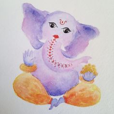 Ganesha by Adriana Galindo aquarela/watercolor, 13x18 cm commission: drigalindo1@gmail.com