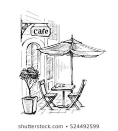 Street cafe in old town vector illustration Landscape Pencil Drawings, Pencil Art Drawings, Doodle Drawings, Simple Landscape Drawing, Art Drawings Sketches Simple, Easy Drawings, Architecture Drawing Sketchbooks, Pencil Sketches Architecture, City Drawing