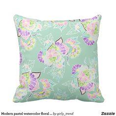 Modern pastel watercolor floral mint green pattern throw pillow
