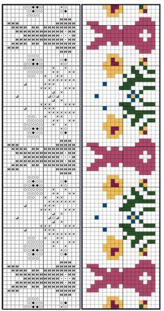 Fair Isle Chart, Fair Isle Pattern, Cross Stitch Needles, Cross Stitch Patterns, Easter Crochet, Knit Crochet, Cross Stitch Animals, Knitting Charts, Le Point