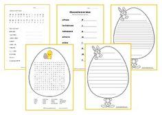 Pasen werkbladen midden- en bovenbouw. Schrijflijnen, husselwoorden, een woordzoeker en geheimschrift voor kinderen van groep 4 t/m groep 8.