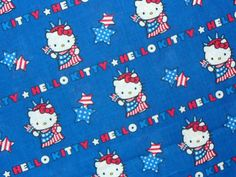 Patriotic Fabric / Hello Kitty Fabric / Hello Kitty Statue of Liberty Print… Royal Blue Background, Hello Kitty Dress, Hello Kitty Backgrounds, Liberty Print, Red White Blue, Statue Of Liberty, Snoopy, Kids Rugs, Fabric