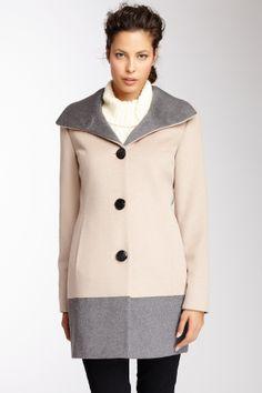 Ellen Tracy Colorblock Wool Blend Coat