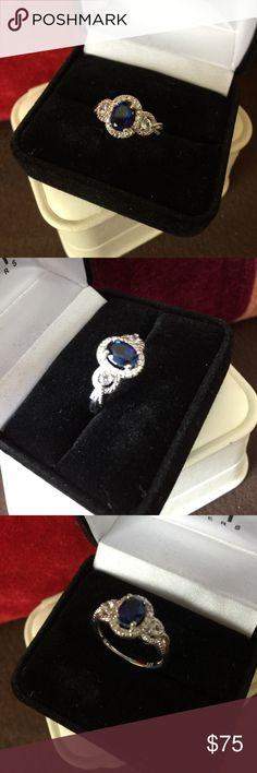 blue Sapphire and white sapphire SV ring Beautiful vintage style in a perfect shade of blue, just like my Ceylon blue sapphire, same hard consistence. In non-tarnish in shining sterling silver.  Stunning, amazing and super value! Jewelry Rings
