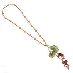 "Marcus & Co, Art Nouveau Conch Pearl, Gold and Plique-à-Jour Enamel ""Morning Glory' Necklace- Macklowe Gallery"