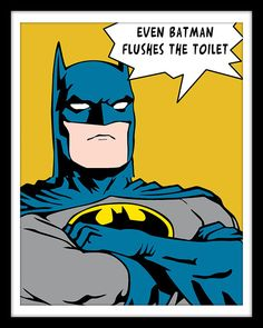 Bathroom Decor Superhero Wonder Woman Batman Green by Woofworld
