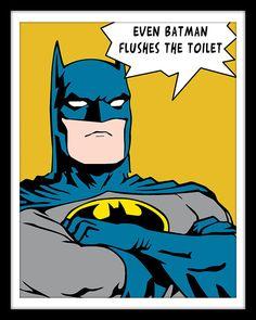 Bathroom Decor Superhero Wonder Woman Batman Green by Woofworld