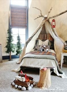 Tipi above your bed made from branches