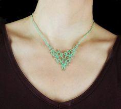Romantic lace necklace. Handmade tatting lace short necklace.
