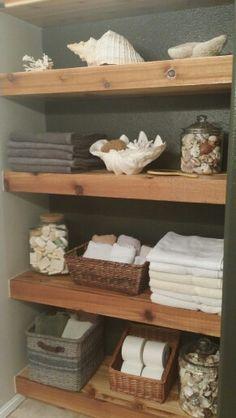 Floating cedar shelves