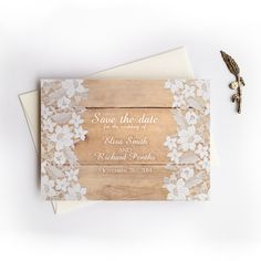 Rustic country save the date cards - Wood and Lace save the date card by DesignedWithAmore on Etsy https://www.etsy.com/listing/233060483/rustic-country-save-the-date-cards-wood